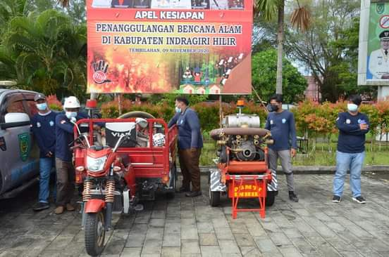 Relawan DPKP Inhil Ikuti Apel Siaga Bencana